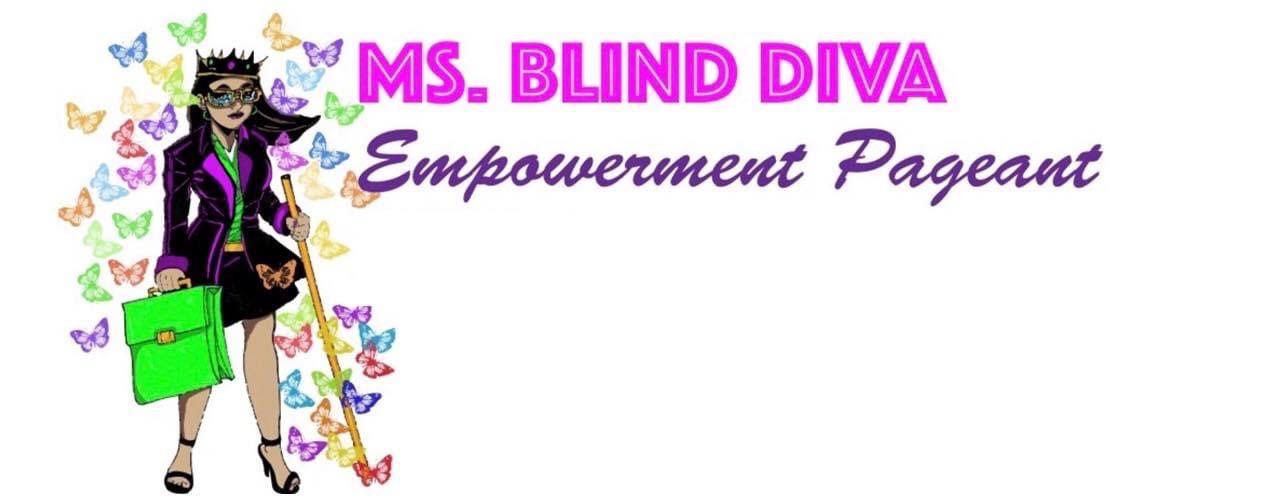 Miss Blind Diva Logo: a young business woman with a stylish business casual outfit and a crown on her head. She is holding a cane, a green suitcase, and is surrounded by beautiful multi-color butterflies.